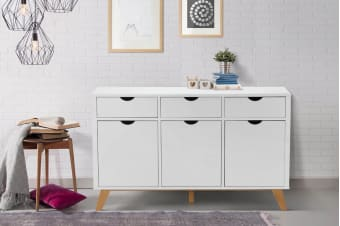 Ovela 3 Drawer 3 Door Buffet - Finse Collection (White)