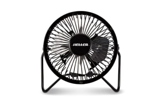 Heller 10cm High Velocity Mini USB Fan - Black