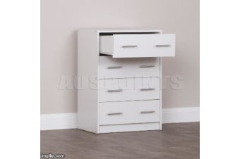 4 Chest of Drawers Table Cabinet Bedroom Storage White Dresser Tallboy