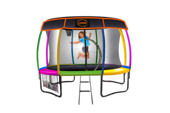 Kahuna Trampoline 8 ft with Basketball set and Roof - Rainbow