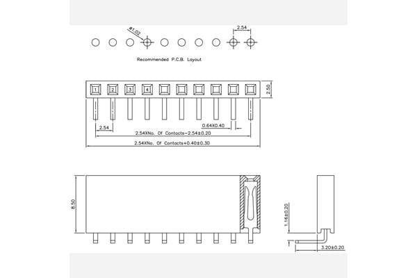 "0.100"" (2.54 mm) Female Header: 1x7-Pin, Right-Angle"