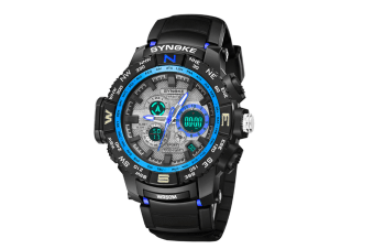 Student'S Electronic Watch Sports Waterproof Digital Watch Black Blue
