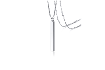 Cuboid Stick Pendant Necklace Stainless Steel Cremation Urn Jewelry Ashes Silver Pendant+Chain