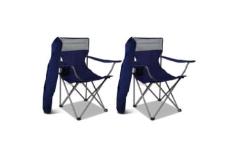2X WEISSHORN Folding Camping Arm Chairs Portable Outdoor Garden Fishing Navy