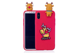 For iPhone XR Case Red 3D Pink Paster Elk Pattern Protective Cover