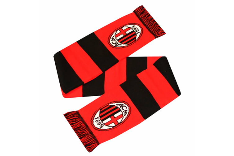 AC Milan Official Football Crest Design Bar Scarf (Red/Black) (One Size)