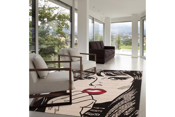Retro Pop Art True Romance Print Rug Grey 230x160cm