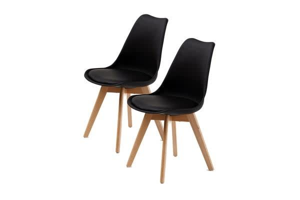 Replica Eames PU Padded Dining Chair - BLACK X2