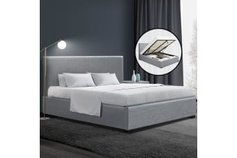 Artiss Queen Size Bed Frame Gas Lift Linen Fabric Wooden Storage Steel Grey
