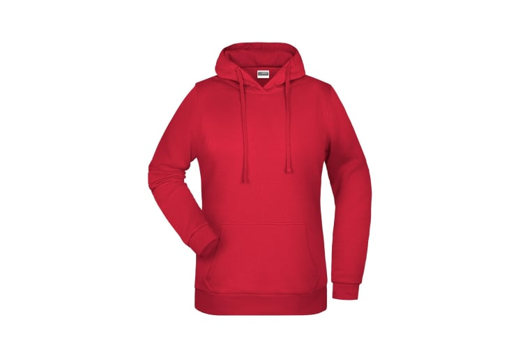 James And Nicholson Womens/Ladies Basic Hoodie (Red) (L)