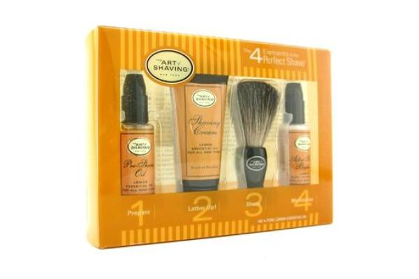 The Art Of Shaving Starter Kit - Lemon: Pre Shave Oil + Shaving Cream + Brush + After Shave Balm (4pcs)