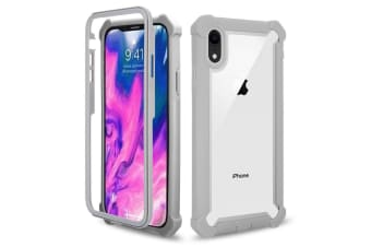 For iPhone XR Case Grey Four-corner Shockproof Transparent Space Cover