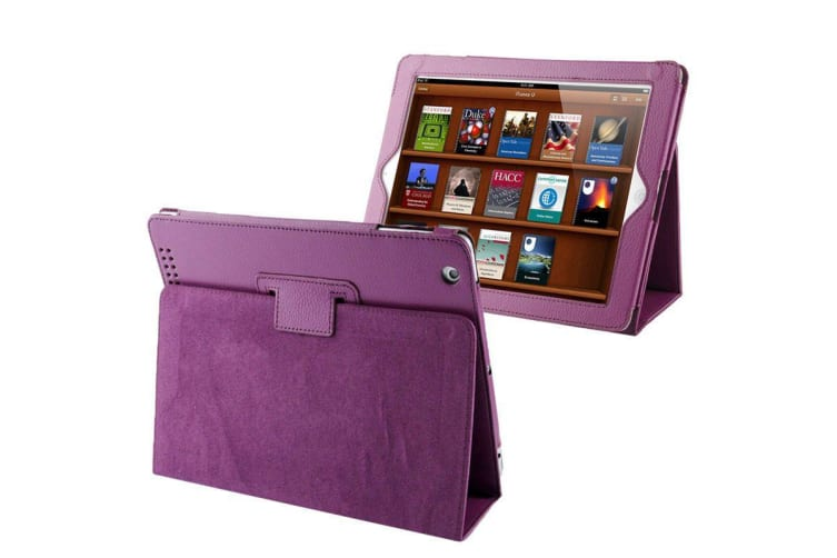 For iPad 2/3/4 Case Modern Lychee Leather High-Quality Shielding Cover Purple