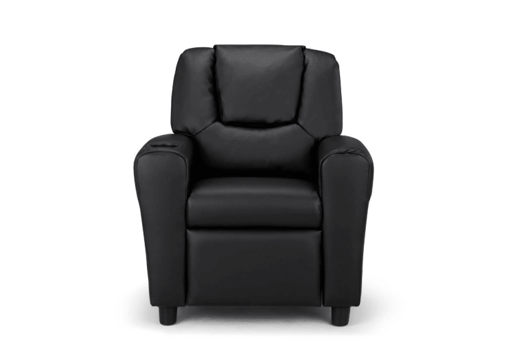 Ovela Kids' PU Leather Recliner Chair (Black)