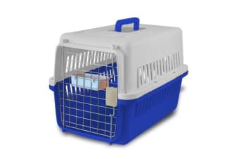 Airline Approve Portable Tote Crate Pet Carrier MEDIUM BLUE