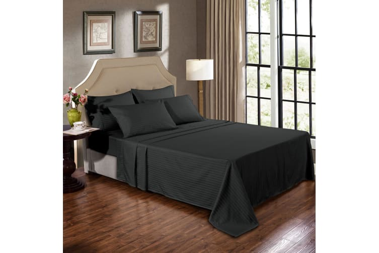 Kensington 1200 Thread Count 100% Egyptian Cotton Sheet Set Stripe Hotel Grade - Double - Graphite