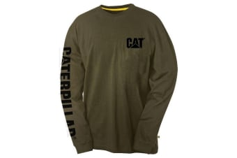 Caterpillar Mens Trademark Banner Long Sleeve T-Shirt (Moss)