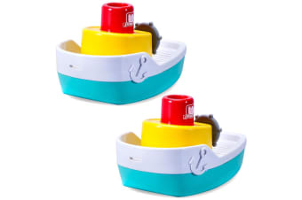 2PK BB Junior Splash N Play Spraying Tugboat Baby Water Bath/Shower Float Toys