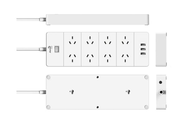 Aerocool ASA QA8A3U2 PowerStrip with 8 AC Outlet and 3 USB Charging Ports, 5V/2.4A