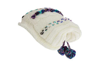 Hawkins Collection Adults Unisex Hand Knitted Pom Pom Hat (Cream) (One Size)