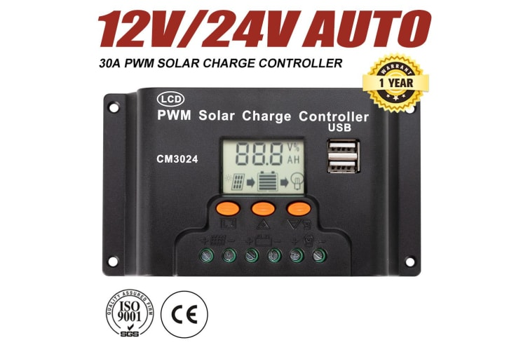 ATEM POWER 30A 12V/24V PWM Solar Panel Charger Controller Battery Regulator LCD Display