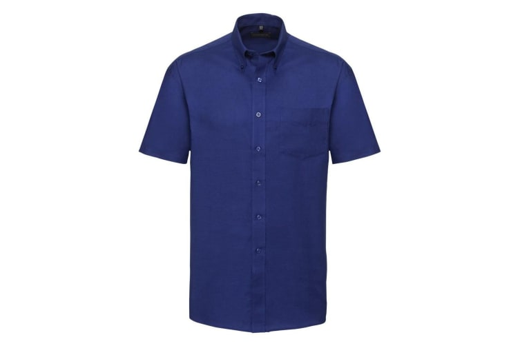 Russell Collection Mens Short Sleeve Easy Care Oxford Shirt (Bright Royal) (15inch)