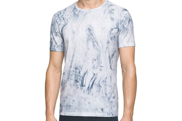 Calvin Klein Jeans Men's Marbled Crew Neck Tee (White, Medium)