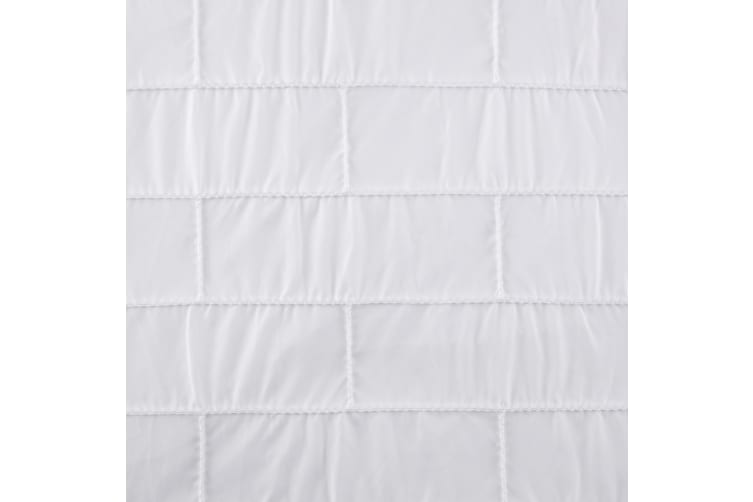 Dreamaker Spandex Emboridery Quilt Cover Set Brickroad Queen Bed - White