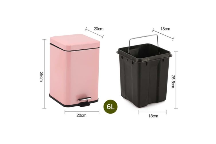 SOGA 4X 6L Foot Pedal Stainless Steel Rubbish Recycling Garbage Waste Trash Bin Square Pink