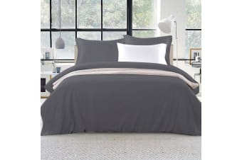 Giselle Bedding Luxury Classic Duvet Doona Quilt Cover Set Hotel King Charcoal