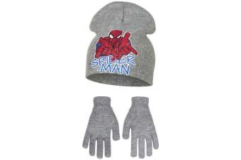 Marvel Ultimate Spider-Man Childrens Boys Web Slinging Hat And Gloves Set (Grey)