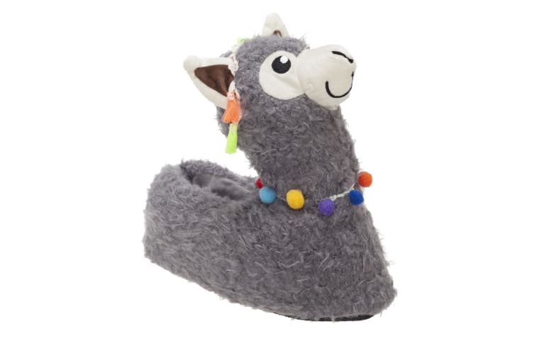 Slumberzzz Womens/Ladies Llama Slippers (Grey) (5-6 UK | 38-39 EU)