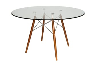 Replica Eames DSW Eiffel Dining Table | Walnut Legs | Glass | 120cm