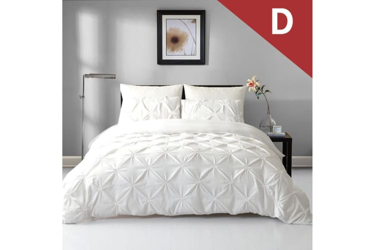 Double Size Diamond Embroidery Pintuck Quilt/Duvet Cover Set-Snow