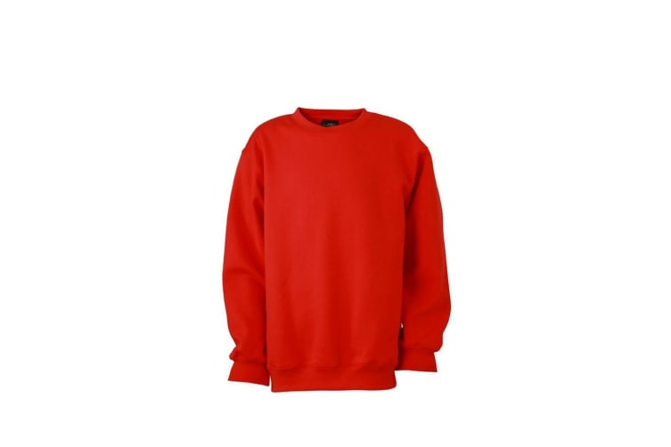 James and Nicholson Childrens/Kids Round Heavy Sweatshirt (Tomato Red) (XL)