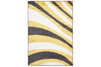 Burst Shag Rug Yellow and Charcoal 230x160cm
