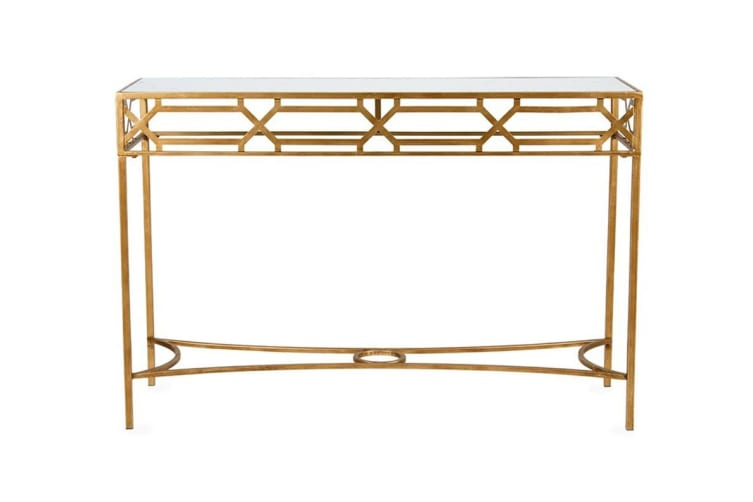 Oro Geometric Console Table | Distressed Gold