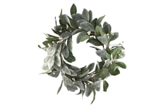 40cm Christmas Wreath White Holly Berry Leaves w Glitter Door Wall Decoration