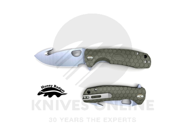 HONEY BADGER HOOK FLIPPER MEDIUM POCKET FOLDING KNIFE YHB1263 - GREEN