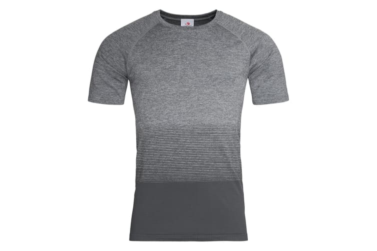 Stedman Mens Active Seamless Raglan Flow T-Shirt (Light Grey Transition) (M)