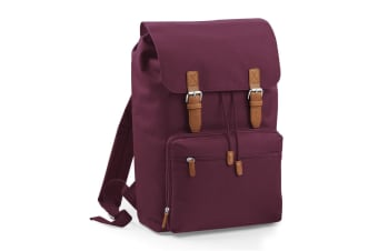 Bagbase Heritage Laptop Backpack Bag (Up To 17inch Laptop) (Pack of 2) (Burgundy) (One Size)