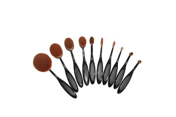 e6643659caaf 10 Piece Professional Oval Makeup Brush Set All In One Black