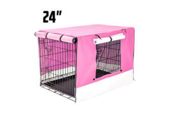 """Foldable Metal Wire Dog Cage w/ Cover - PINK 24"""""""