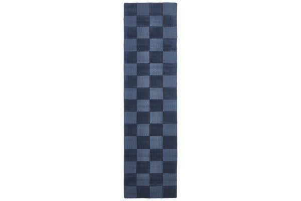 Wool Hand Tufted Rug - Box Petrol - 400x80cm