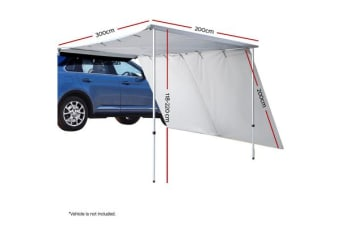 2M X 3M Car Side Awning Roof Rack Tents Shades Camping 4X4 4WD Grey