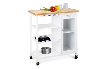 Ovela Deluxe Rubberwood Top Kitchen Storage Trolley & Workbench