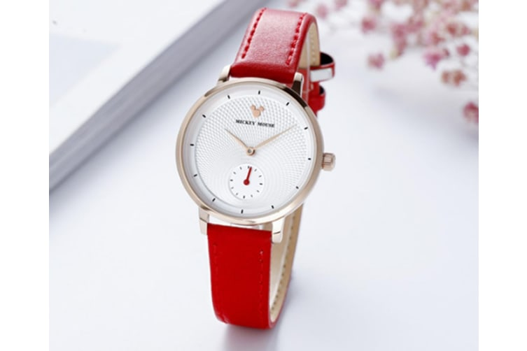 Select Mall Fashion Trend Quartz Watch Mickey Mouse Belt Shiny Waterproof Watch for Boys and Girls-Red