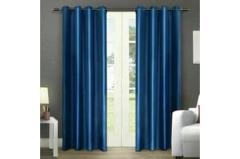 2X Blockout Curtains Panels Blackout 3 Layers Eyelet Room Darkening Pure Fabric  -  Bluish Grey180x213cm
