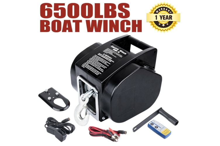 ATEM POWER 6500LBS 12V Electric Boat Winch Portable Detachable 10M Steel Cable Ship Trailer