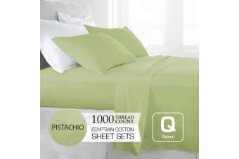 Queen Size Pistachio 1000TC Egyptian Cotton Sheet Set